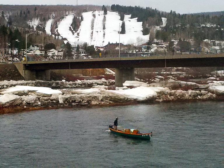 Brave angler out on an icy Restigouche River. Photo David LeBlanc
