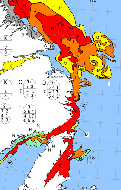 Ice conditions May 29 in northern NL and along the Labrador coast.
