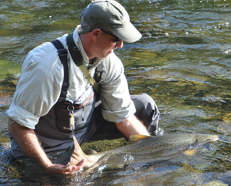 John Shipley releasing an Atlantic salmon, keeping the fish well in the water of the Cascapedia River, at New Derreen Camp.