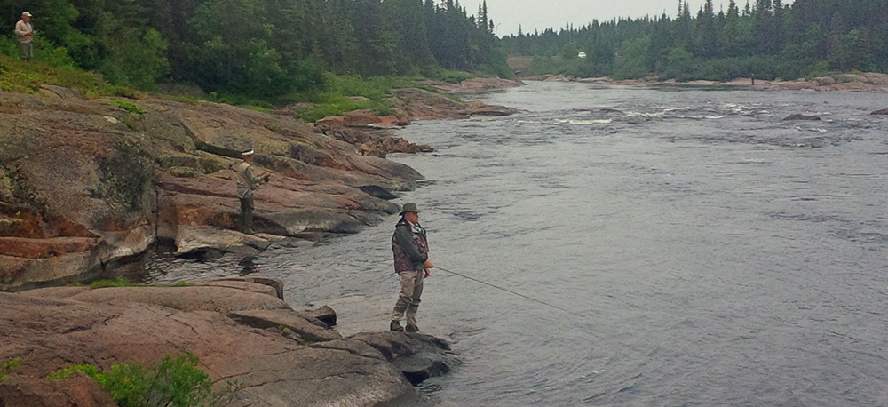 Anglers on the aux Rochers River.
