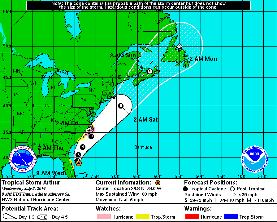 Tropical Storm Arthur, with predicted path and times as of July 2.