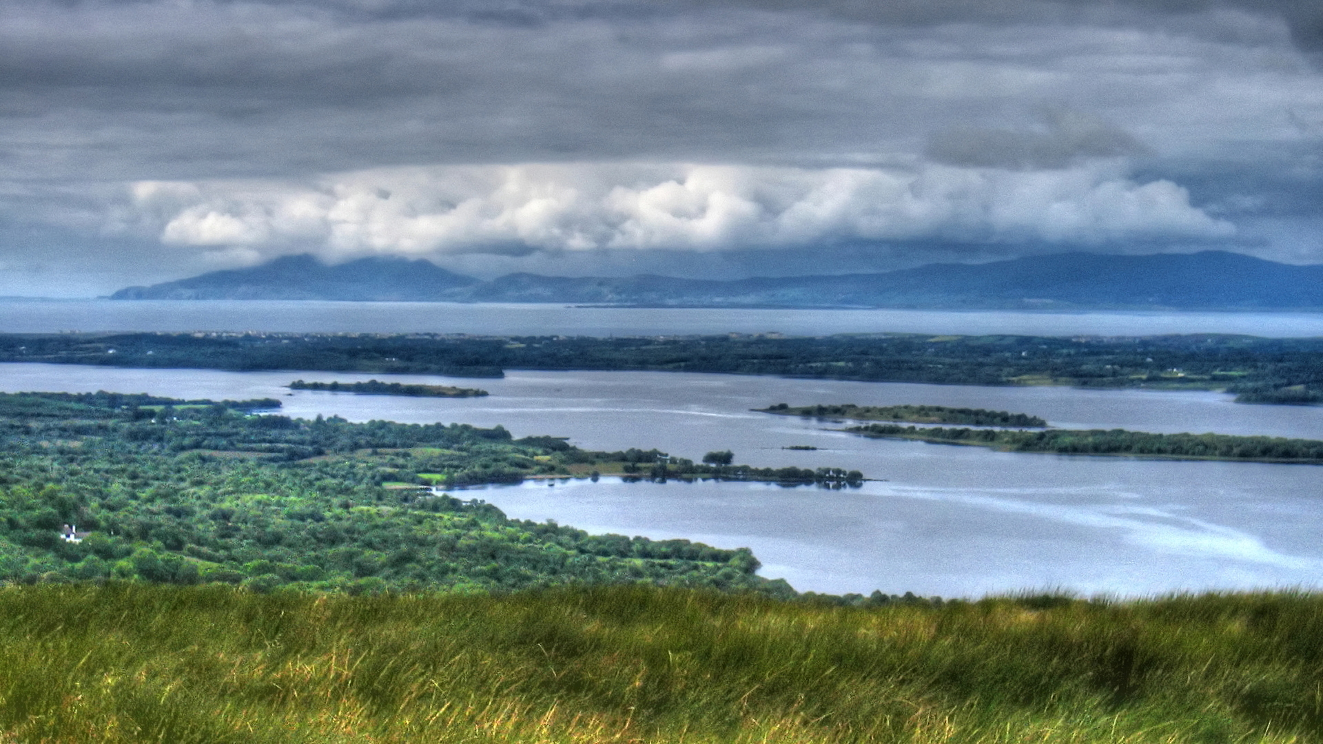 Lough Melvin (middle ground) is separated from Donegal Bay (background) by the Drowes River. Photo Tom Moffatt