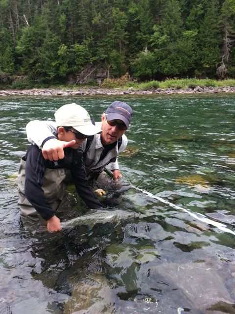 Eight-year-old Teo Panzer landed his first Grilse at Deer Landing, Bonaventure River in mid-August, 2014