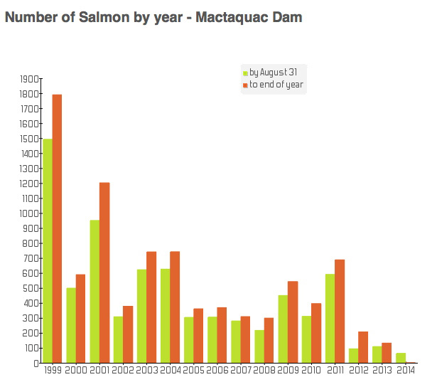 Returns on the Saint John River at Mactaquac show that the river is experiencing historically low numbers.