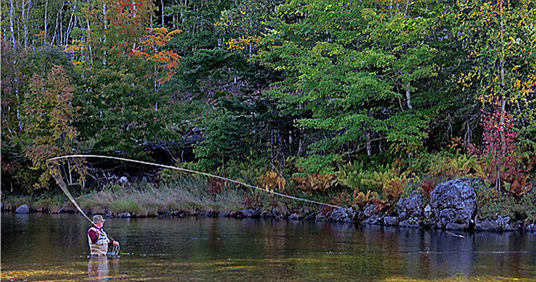 John Cameron on the Margaree at Ross Bridge Pool on 1 Oct. 2014.