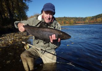 10.11.16. JM with 30-inch hen salmon, est. weight 11-12 lbs., caught in Dudley Pool, Wilson's Sprting Cmps, Miramichi River, New Brunswick, Canada. Photo by Karl Wilson.