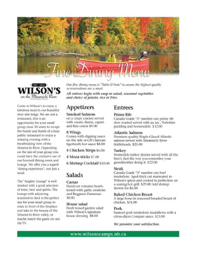 Wilsons Sporting Camps Fine Dining